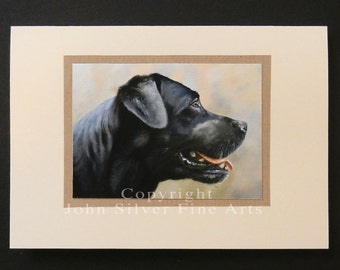 Labrador Retriever Dog Portrait Hand Made Greetings Card. From an Original Painting by JOHN SILVER. GCBL004