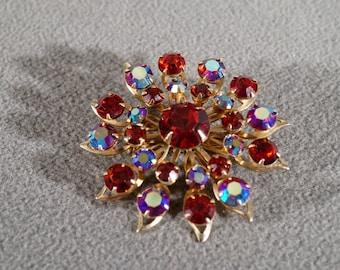 Vintage Art Deco Style Yellow Gold Tone Ruby Red Aurora Borealis Rhinestones Pin Brooch Jewelry   K