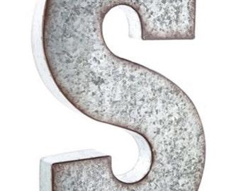 "Large 21"" Galvanized Metal Letter Wedding Monogram"