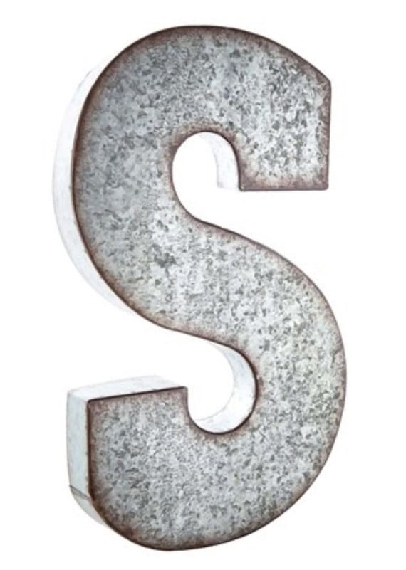 Items similar to large 21quot galvanized metal letter wedding for Large metal monogram letters