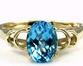 Swiss Blue Topaz, 10KY Gold Ring, R300