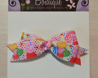Boutique Style Hair Bow - Peppa Pig Hearts & Polka Dots