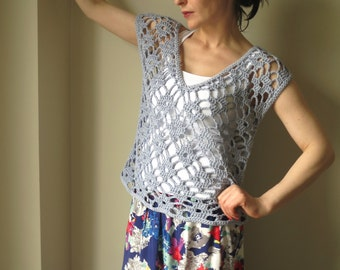 Hand Crochet Top - Crochet Tunic - Crochet Shirt – Blue Crochet Top