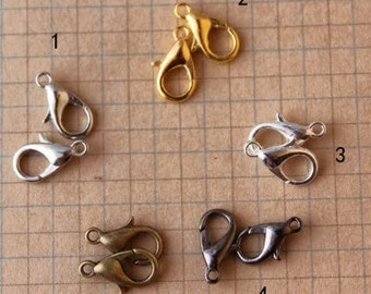 DIY jewelry -100 pcs of antique gold or silver lobster claw clasp 12mm