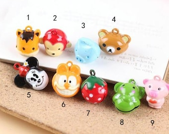5 pcs of multicolour animal small bell charm pendant 20mm