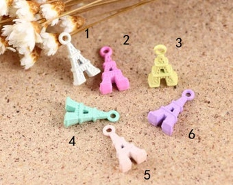 10 pcs of  multicolour Eiffel Tower charm pendants 16x8mm