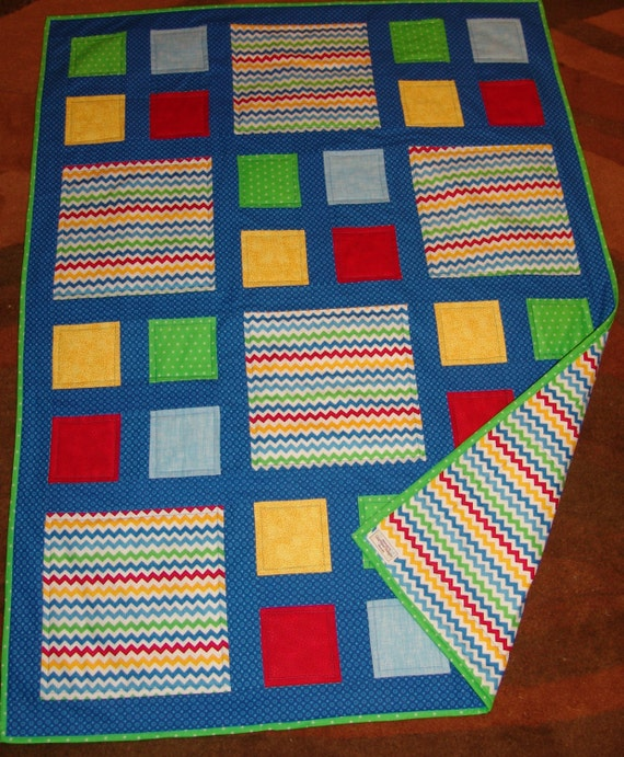 Baby Or Lap Quilt In Primary Colors And Green Featuring
