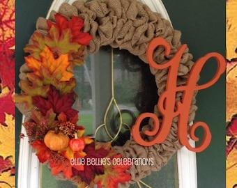 Monogram Fall Burlap Wreath