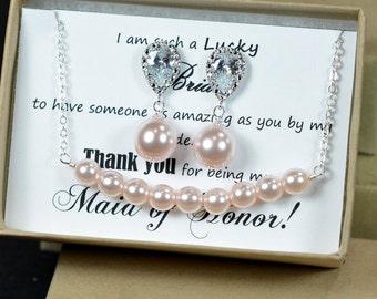 Wedding Jewelry Bridesmaid Gift Bridesmaid Jewelry Bridal Jewelry Pink or white Pearl Drop Earrings Cubic Zirconia Earrings