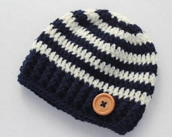 Crochet baby boy hat, navy blue and cream, boy winter hat, infant hat, crochet beanie - MADE TO ORDER