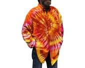 Tie Dye Button Up Shirt, Rainbow Sherbet Swirl OOAK 100% Cotton Unisex  Light Weight Long Sleeved