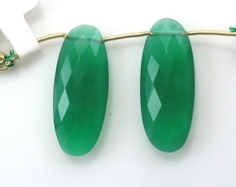 Green Onyx Elongated Oval Cut Drops Matching Pair 32x12mm Sale by Best in Gems (8113)