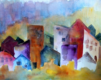 Large Watercolor Landscape, Original Painting, Cityscape, Contemporary Art, Wall Art, Modern Look, OTR Cincinnati Abstracted