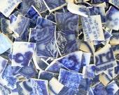 Super Rare Antique Flow Blue Blurry Blue Mix China Plate Mosaic Tiles Mega Lot of 240 Pieces!