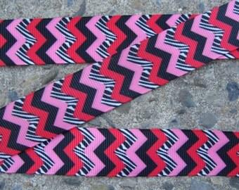 "3 yards Zebra Chevron Ribbon  7/8"" Light Pink Black  Hot Pink Ribbon"
