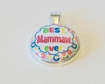 Colorful Floral Best Mammaw Ever Grandmother Round Silver Pendant