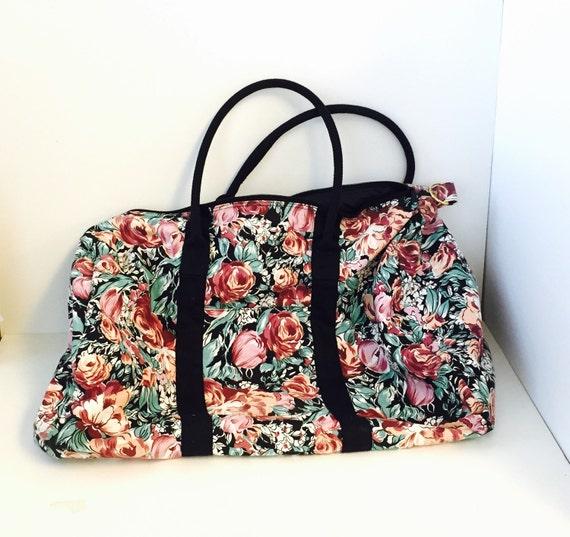 Vintage 80s 90s XL Floral Duffle Bag Canvas