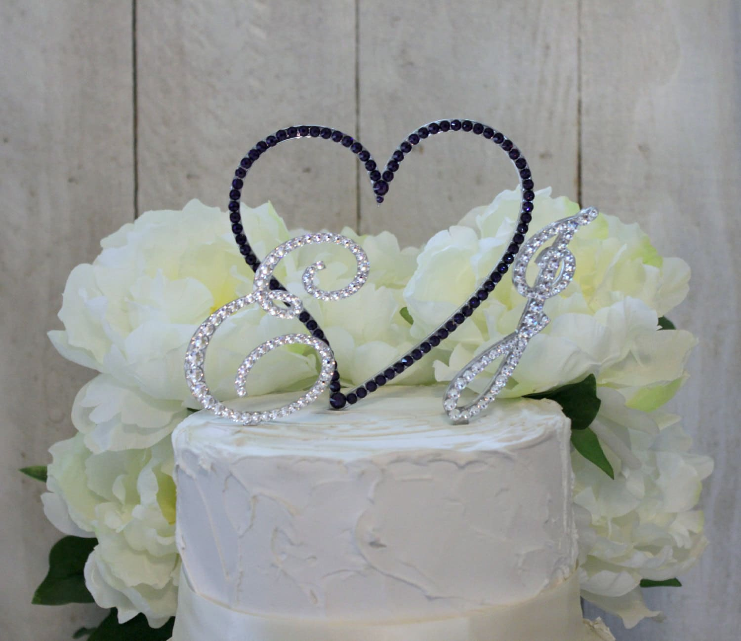 Monogram 2 Initial & Heart Wedding Cake Topper by