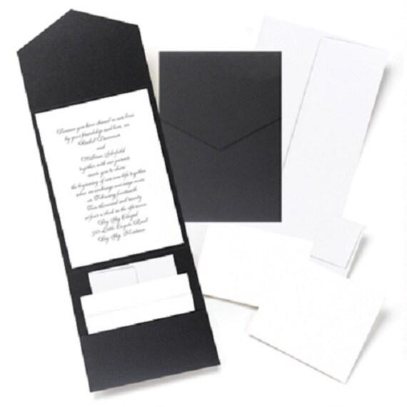 25 Wedding Invitation DIY Kit Pockets RSVP Cards Envelopes Invite ...