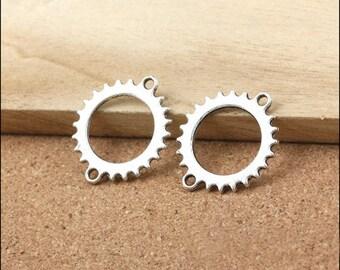 10 pcs 24x28mm Antique Silver gears wheels  gearwheels Watch movements connectors links Charms Pendants