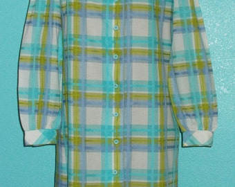 "60s Vintage ""Bleeker Street"" Plaid Woven Cotton Day Dress — Size Medium — 8-10"