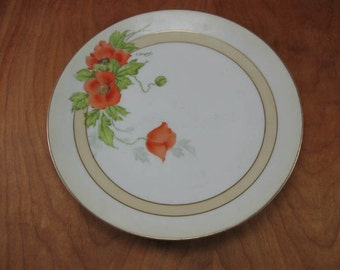 Vintage Ceramic Flower Plate - Hand Painted Poppy Plate - - Collectible German Plate - Germany - Fruit Plates
