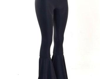 Black Soft Knit Spandex High Waist Bell Bottom Flared Pants 150902