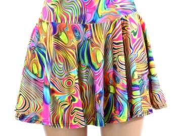 """15"""" Long Tropical Swirl Print Skater Skirt Full Circle Stretchy Lycra Skirt -151027"""