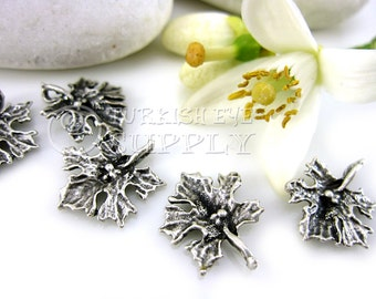 10 pc Mini Leaf Charms, Antique Silver Plated Brass Turkish Jewelry