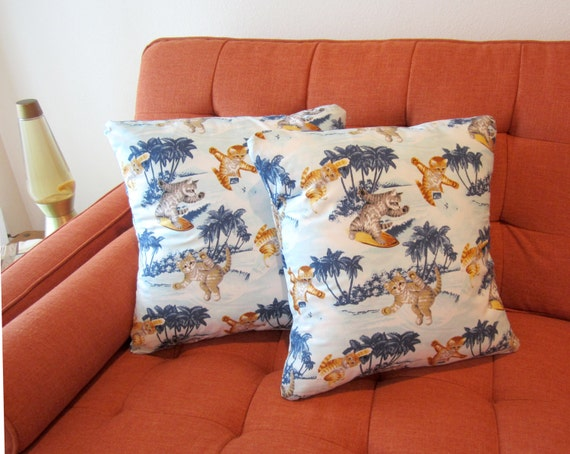 Mid Century Style Pillows : Retro Tiki Mid Century Style Hawaiian Surf Kittens Pillow