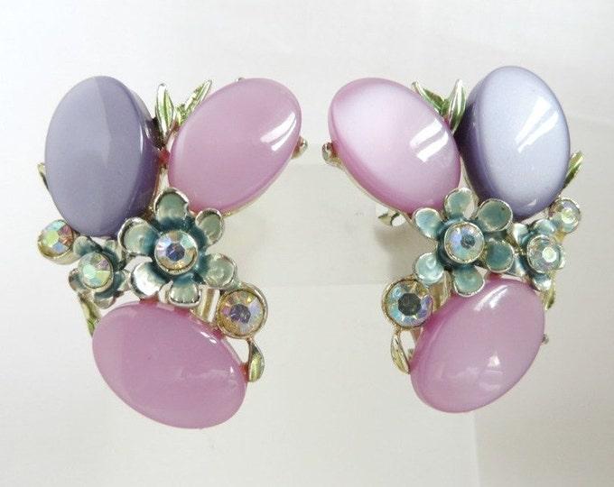 BSK Pink Purple Thermoset Earrings, Vintage Estate Flower Earrings, Signed Designer Costume Jewelry Clip ons