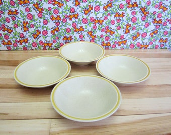 Vintage 1970's Hearthside Garden Festival Stoneware Cereal Bowls, Hand Painted, Yellow Band, Speckled, Set of 4, Dinnerware, Made in USA