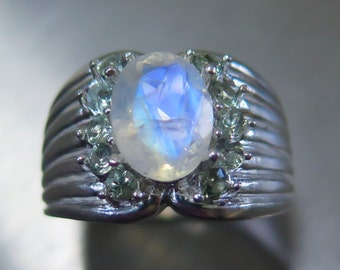 1.65cts Natural rainbow moonstone blue white & green sapphire Sterling .925 Silver statement ring all sizes