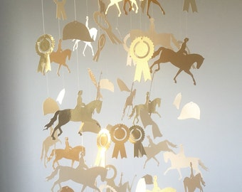 Gold & Cream Horse and Winners Ribbon Nursery Mobile