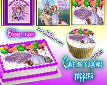 Sofia the First edible cake or cupcake toppers - Sugar frosting sheet picture photo decal transfer supplies paper easy pinterest pintrest