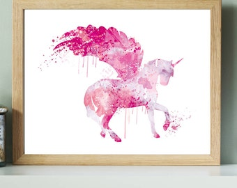 Pink Unicorn Nursery Print, Unicorn Watercolor Nursery Art, Pink Unicorn Illustration,Unicorn art poster,Pink Unicorn Nursery Art Decor,ET99