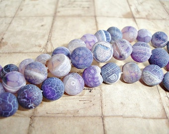 10 x Frosted Purple Semi Precious Agate Round Beads 10 mm