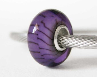 Purple and Black Murano Lampwork Sterling Silver European Style Large Hole Bead