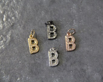 """CZ Micro Pave Letter """"B"""" Charm with Jump Ring"""