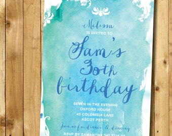 Custom Invitation Watercolor Invite.  DIY CUSTOM Printable 'Watercolour' Party Invitation