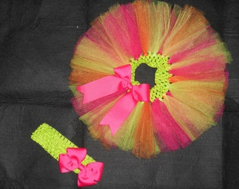 Lime Green and Hot Pink tutu for newborns to 5t