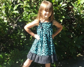 Turquoise and Black Animal Print Dress/Jumper/Sundress With Black and White Polka Dot Ruffle, Adjustable Knotted Straps, Size 3