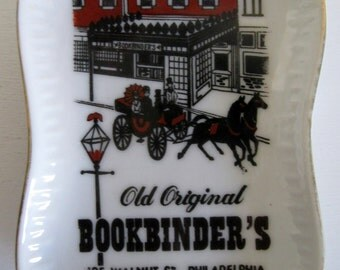 Vintage Old Bookbinder's Restaurant Tray, porcelain, advertising, trinkit catch all