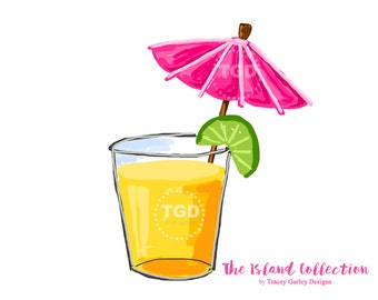 Preppy Cocktail with Pink Umbrella Clip Art - Original Art download, cocktail clip art, preppy clip art, The Island Collection