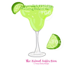 Preppy Margarita and Lime Wedge Clip Art - Original Art download, cocktail clip art, preppy clip art, The Island Collection, margarita art