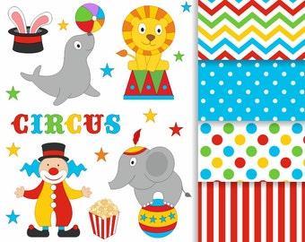 Funny Bright Circus Clip Art Set, Clowns Clipart, Digital Paper, Digital Clip Art - Instant Download - YDC106