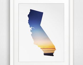 California Poster, Digital Print, Summer Poster, Sunset Decor, Beach Decor, California State, Digital Download, Printable Artwork