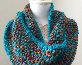 Multicolor Cowl, Ling Circle Scarf, Cozy Fashion Cowl, Crochet Cowl