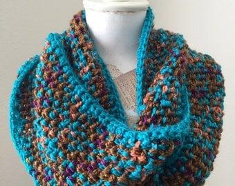 Multicolor Cowl, Ling Circle Scarf, Cozy Fashion Cowl, Crochet Cowl