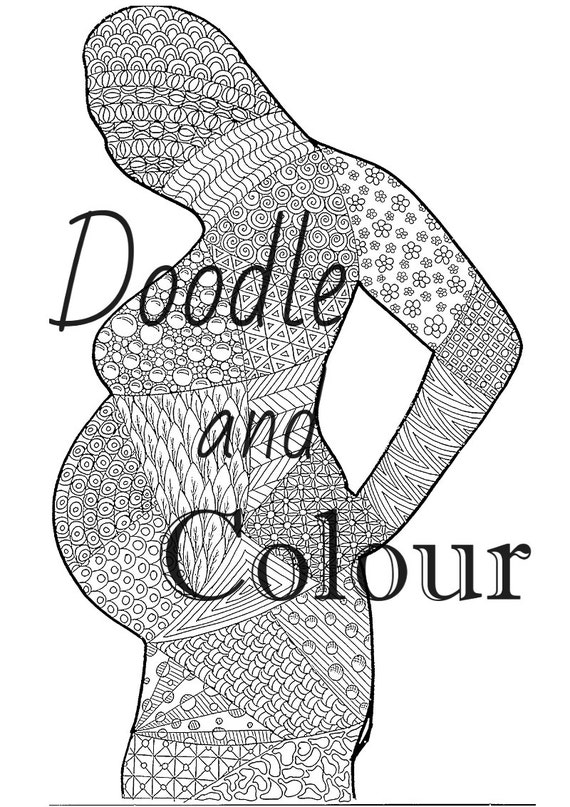 Printable Coloring Pages Zen : Pregnant woman adult colouring page instant download printable
